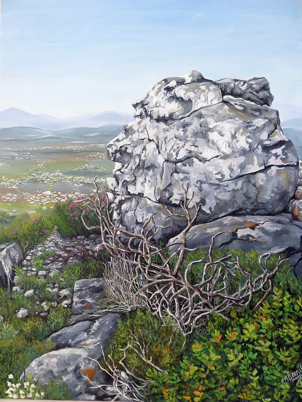 Landscape with Rock - Cape Point South Africa 18 x 4 inch oil on canvas.